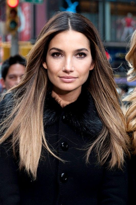 Lily Aldridge Stright Brown Hairs Color 2014