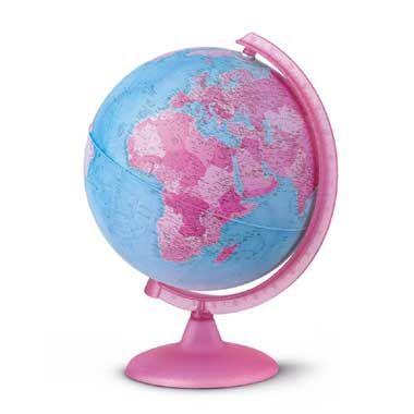 Wereldbol met licht roze  Leer alle landen van de wereld kennen. Kijk eens hoe groot Rusland is waar Canada ligt en hoe klein Nederland eigenlijk is in vergelijking met China. De wereld is groter dan jouw kikkerlandje!  EUR 24.99  Meer informatie