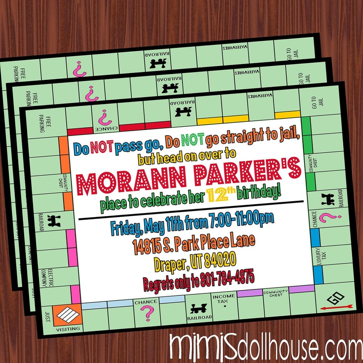 This Would Be Cute To Change Into The Welcome Letter To: Game Night Invitation- Printable Board Game Party Birthday