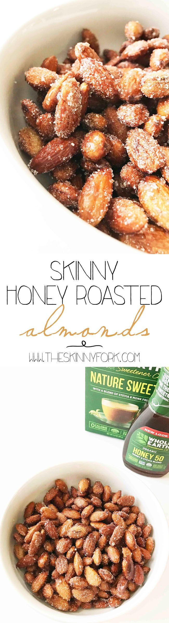 It's time to #RethinkSweet with these Skinny Honey Roasted Almonds with @WholeEarthSweetner! Yes, you did in fact read that correctly! Whip up a quick batch of these almonds and have them on hand for a more wholesome snack. Trust me though, know one will ever guess they are better-for-you because they taste amazing. #Ad