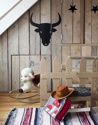 stoere jongenskamer met steigerhout in cowboy style