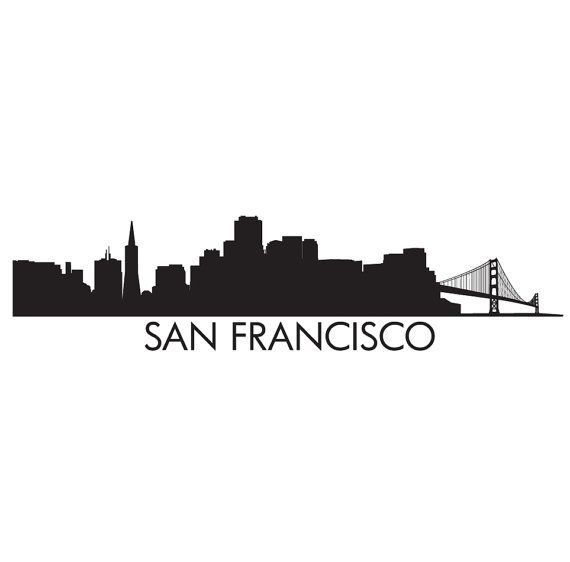 San Francisco Skyline Silhouette Sketch Coloring Page