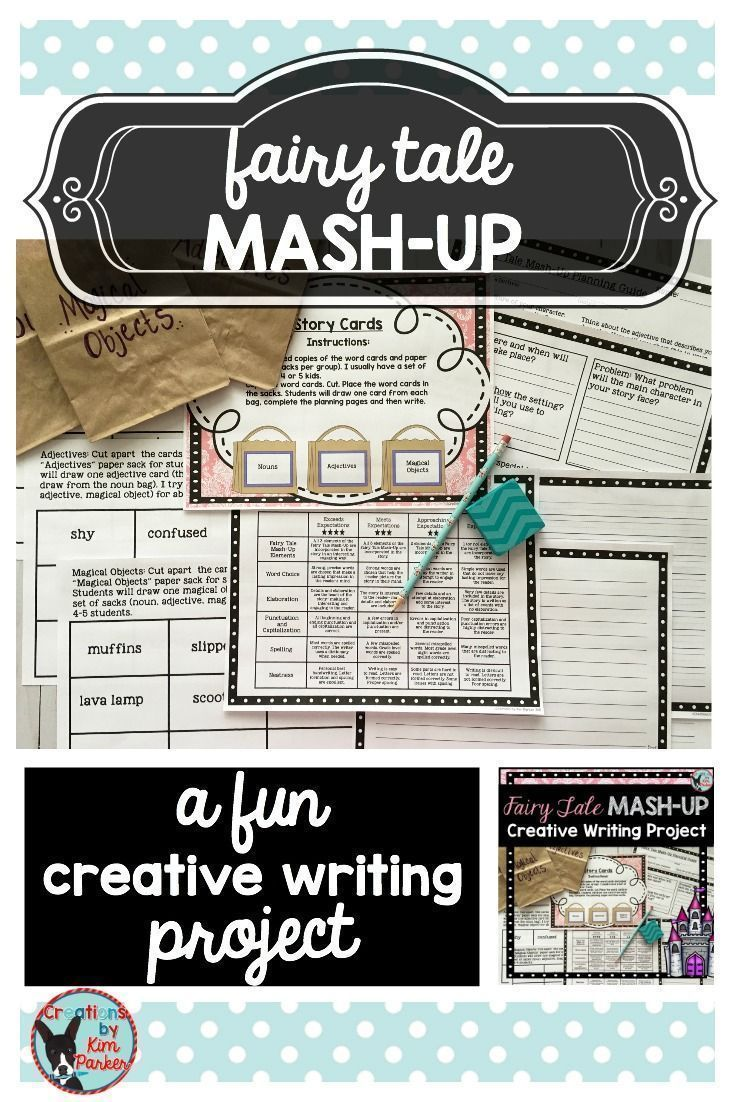 $ This Fairy Tale Mash-Up CreativeWriting project provides students with the chance to draw 3 cards (a noun, an adjective, and a magical object), plan, and then write a creative story. My students love this activity each year! $