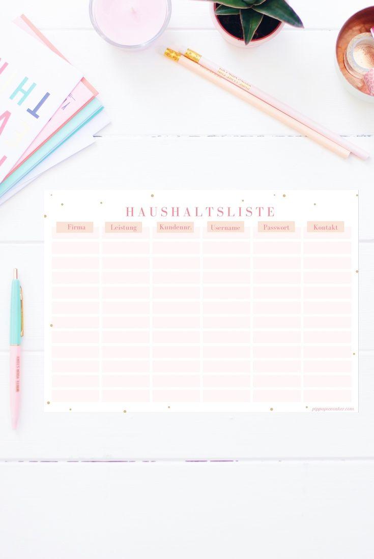 Auf dieser Haushaltsliste zum Ausdrucken ist endlich Platz für alle Kundennummern, Kontaktdaten, etc, die in deinem Haushalt anfallen. Sei es das Finanzamt oder der Schornsteinfeger, die Elterngeldstelle oder der Sportverein. Diese Liste ist mein Lebensretter! Die Haushaltsliste gibt es auch im Happy Organizer Paket mit über 43 Organisationsseiten für alle Bereiche deines Mami Alltags: Rezeptkarten, Tagesplaner, Fitness Tracker, Finanzplaner, Geburtstags-Checkliste, Wochenplan, Putzplan…