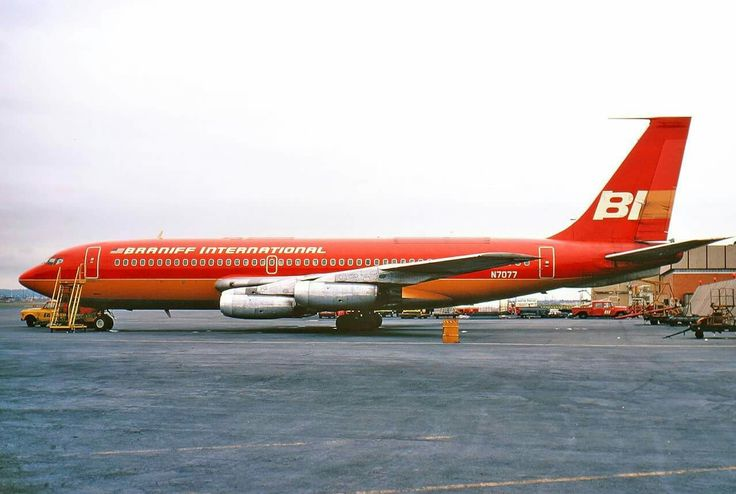 Braniff International B707 parked at Dallas Love Field 1965