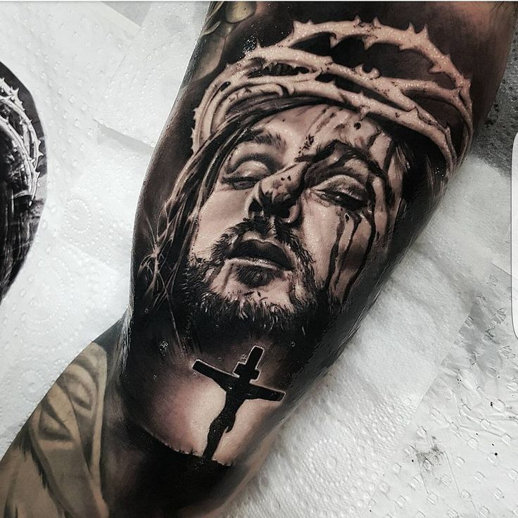 jesus on bicep by Benji_Roketlauncha