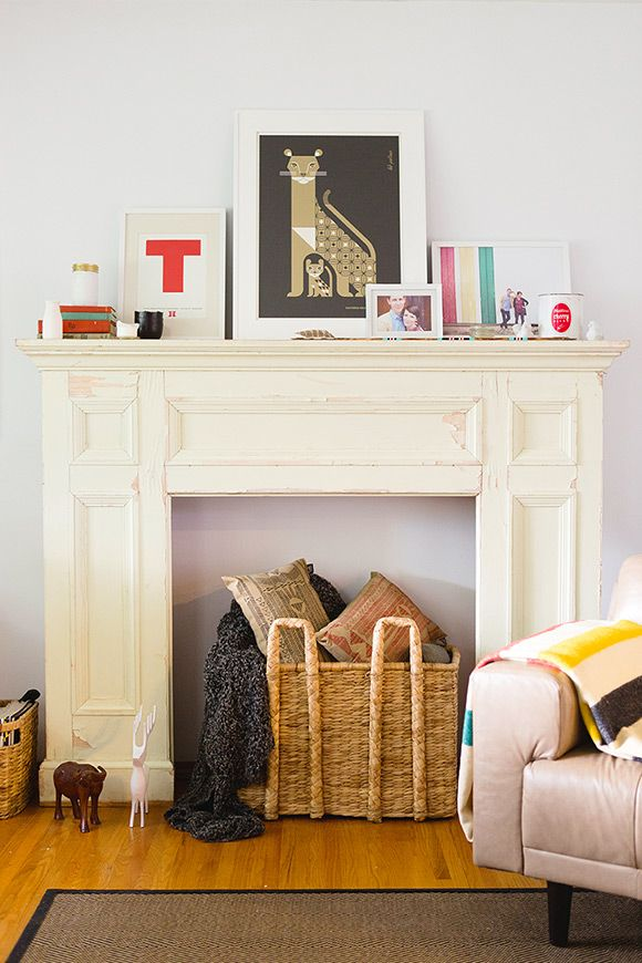 faux fireplace & mantel   one plus one design