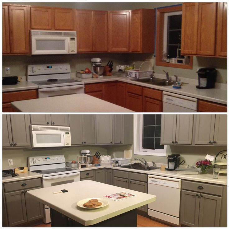 Repainting Painted Kitchen Cabinets: Before And After Painting My Kitchen Cupboards With Annie