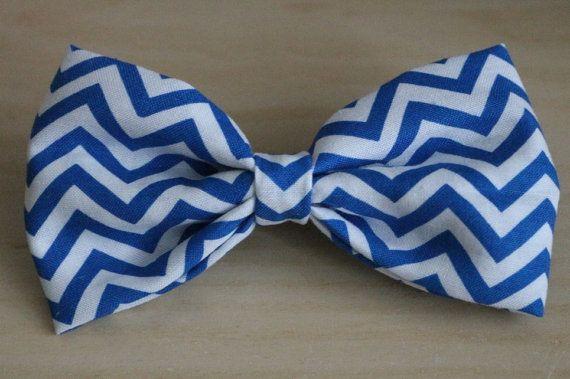 Handmade Blue Chevron Hair Bow by DreamersDestination on Etsy