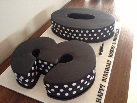 Black and White 30th birthday Cake