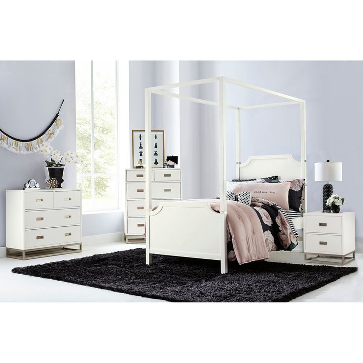 NE Kids Hillsdale Tinley Park Twin Canopy Panel Bed, Soft White