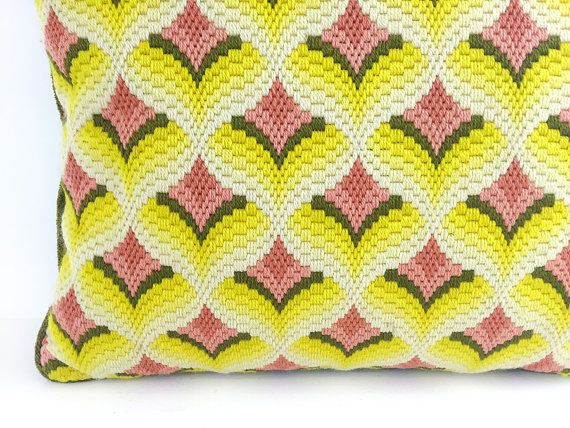 1960s 70s Bargello Pillow / Handmade With Sunny by ChapsAndRascal