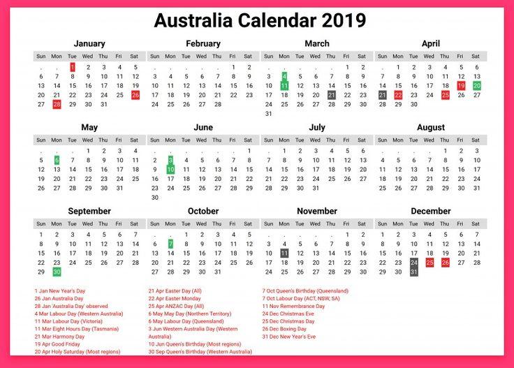 2019 australia calendar printable   Calendar, Calendar ...