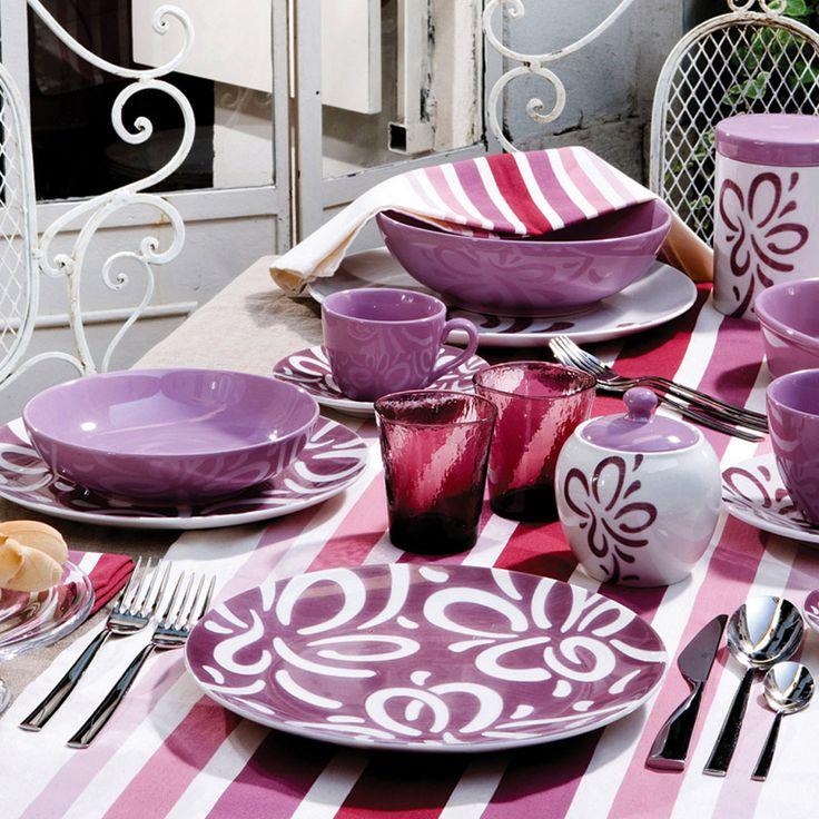 Purple decorating ideas for your home: Bali plate set, Rose&Tulipani  | #designbest #homedecor #design |