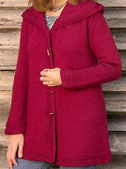 New Knitting Downloads - Boston Top-Down Hooded Coat Knit Pattern