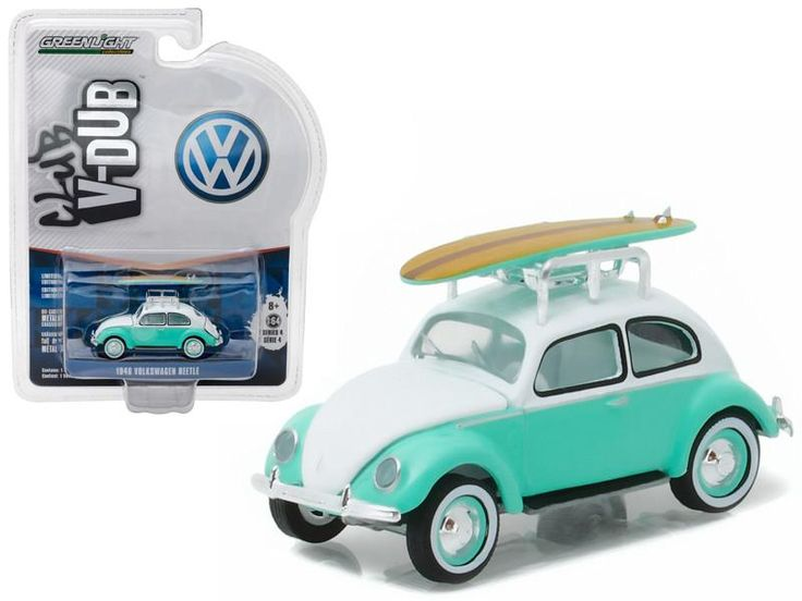 1946 Volkswagen Beetle Green with Roof Rack and Surfboards 1/64 Diecast Model Car by Greenlight