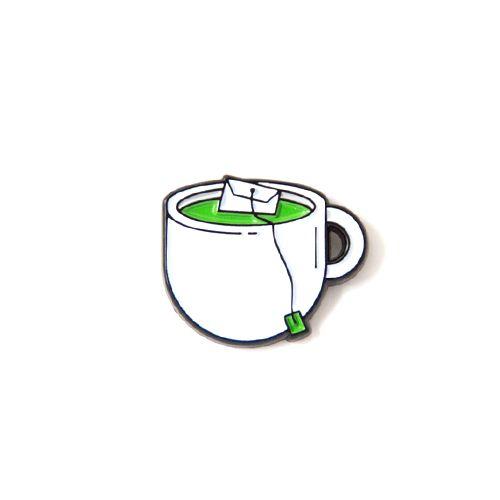 "Zen in a pin. Rep the Green Tea pin. - Black Metal - .75"" Wide - Black Rubber Clutch More"