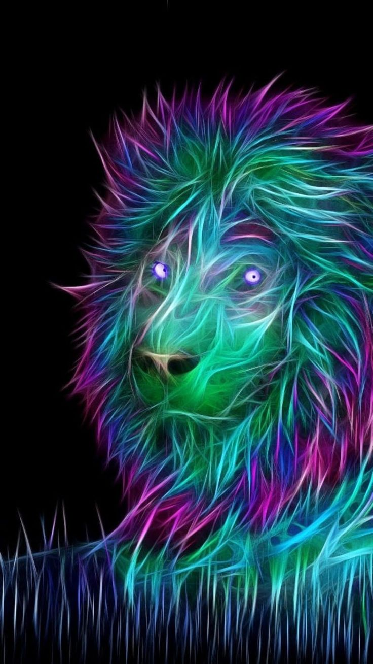 lion, purple, neon, felidae, big cats, fractal art, iphone