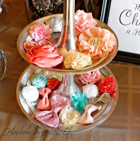 Make beautiful headbands for a baby shower headband station! We provide instructions and downloadable sign for your headband making!