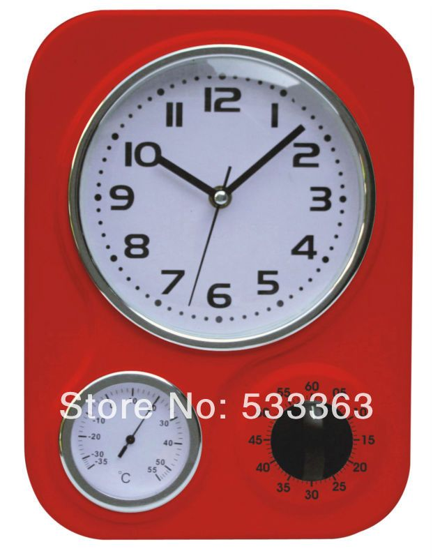 modern kitchen wall clocks with timer and thermometer retro clock US $18.99 WANT THIS! (but not red)