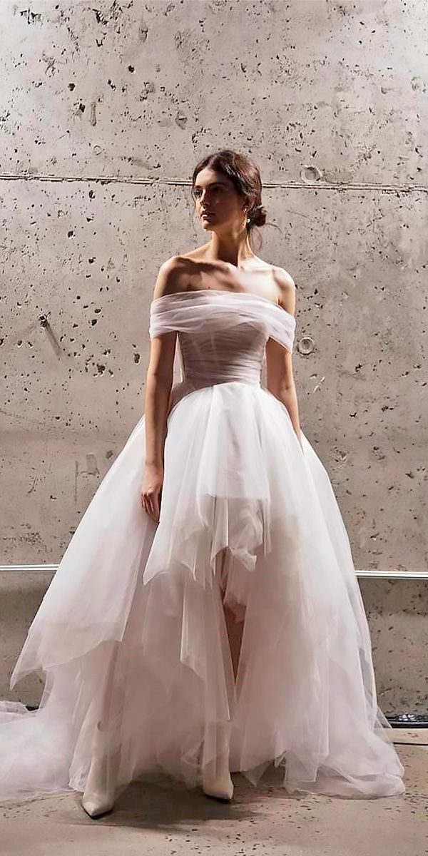 10 Best Wedding Dress Designers For 2017 ❤ wedding dress designers ball gown high low off the shoulder tulle galia lahav ❤ See more: http://www.weddingforward.com/wedding-dress-designers/ #wedding #bride
