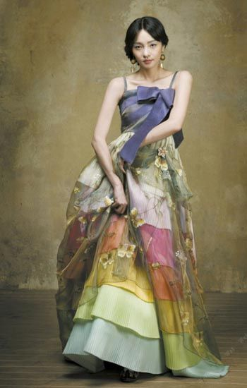 Topless Hanbok with Multicolored Frills - Hanbok Lynn