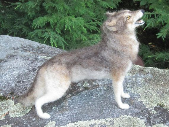 I wish I knew how to make things like this! So cool! Needle felted wolf felted animal made to order by Ainigmati on Etsy.
