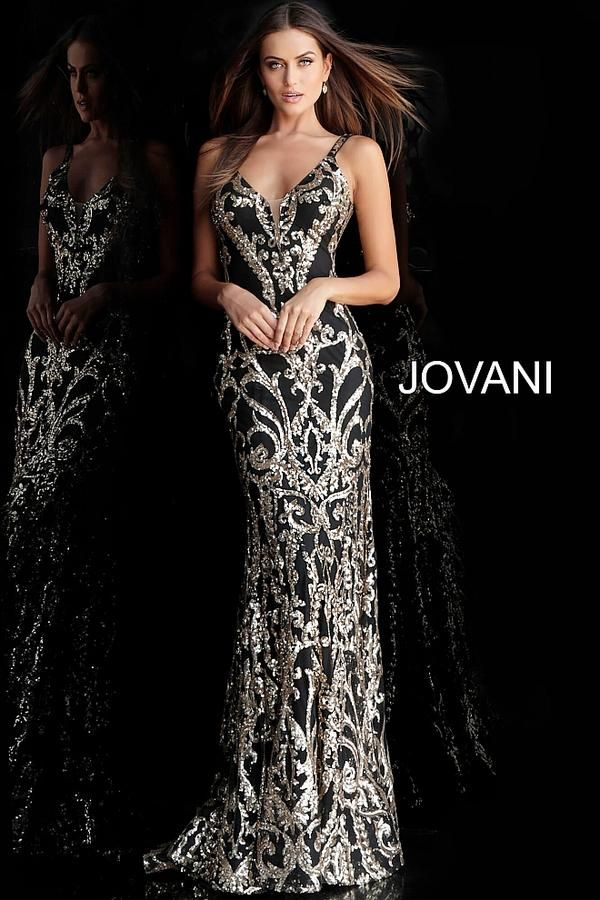 105432d1df5d9 The Jovani 63350 is a stunning black and gold patterend fitted mermaid  dress with a v neck