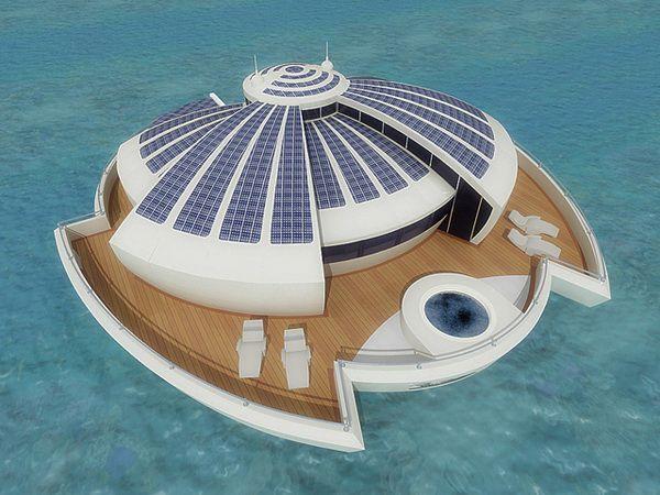 Плавающий курорт на солнечных батареях.
