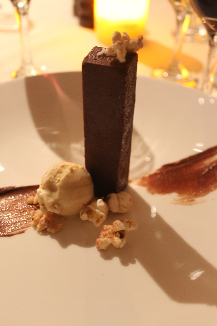 "Taza hazelnut pate, malted popcorn, Ovaltine ice cream, ""Nutella"" at Harvest, Cambridge, MA"