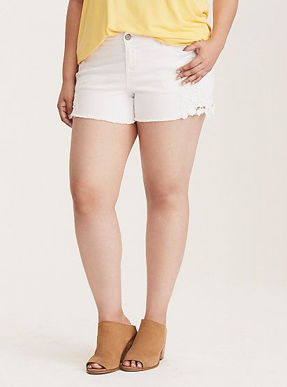 Torrid Skinny Short Shorts - White Wash with Crochet Inset SidesTorrid Skinny Short Shorts - White Wash with Crochet Inset Sides, WHITE
