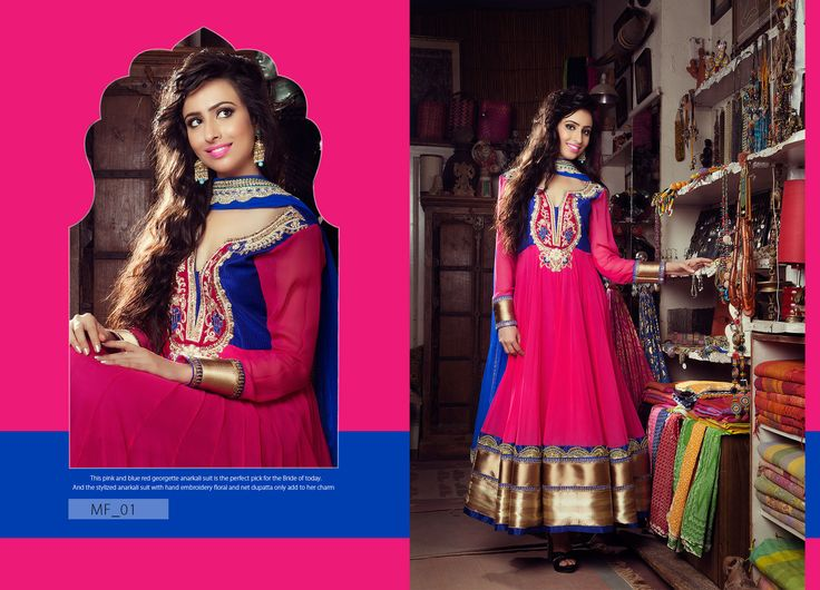 This Pink and blue red georgette anarkali suit is the perfect pick for the Bride of today. And the stylized anarkali suit with hand embroldery floral and net dupatta only add to her charm. Product Code: MF_01 Price: $231 #Fashion #Dress #Wedding #royaldress #designersuites #Beauty #newdesign #Anarkali  Mail: rangrezzfashions@gmail.com