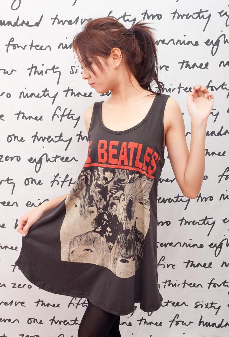 THE BEATLES T Shirt Dress Revolver UK Rock Women Black Tunic T-Shirt Top Vest Mini Dresses Size M L @Julia Dimas