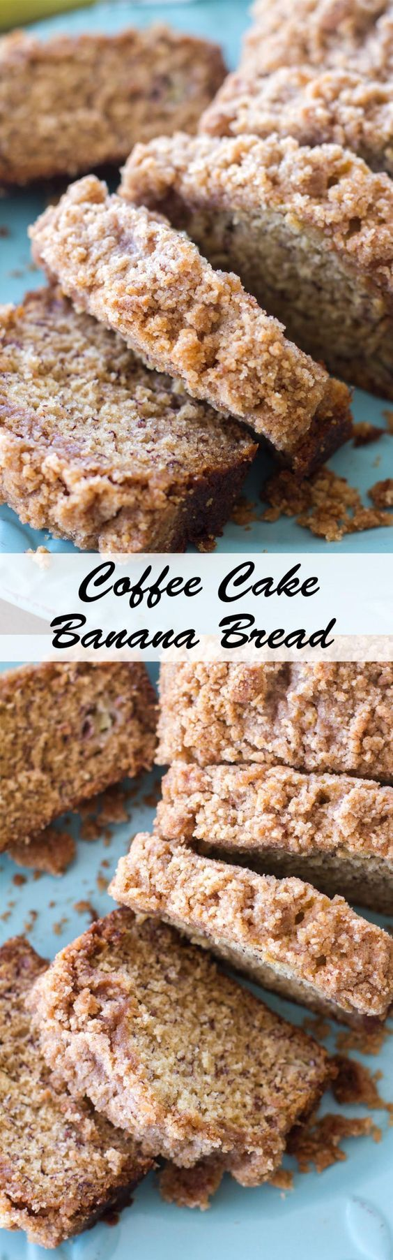 Coffee Cake Banana Bread - This classic banana bread recipe is topped with a sweet crumb topping making it a cross between a quick bread and coffee cake!