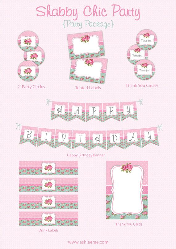 Shabby Chic Party PACKAGE Printable by AshleeRaePrintables