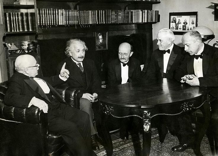 Left to right: Walther Nernst, Albert Einstein, Max Planck, Robert Millikan, and Max Von Laue in November 11, 1931.