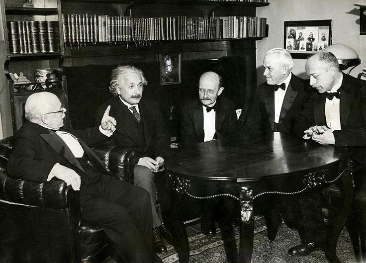 Left to right: Walther Nernst, Albert Einstein, Max Planck, Robert Millikan, and Max Von Laue in November 11, 1931.