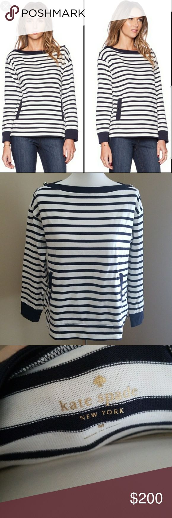 Kate Spade Striped Boatneck Top Kate Spade Striped Boatneck Top, size Medium  NWOT.  I removed the tag thinking I was going to take with me on a trip,  but I never did take the top with.  Never been worn. kate spade Tops
