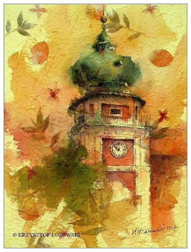 Lancut Castle, watercolour on handmade paper from Thailand, Krzysztof Lozowski www.artmajeur.com/lozowski