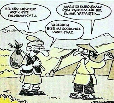 Çin seddi  #türk #çin #göçmen #çinseddi #tarih #karikatür #mizah #savaş #barış http://turkrazzi.com/ipost/1521590015312914262/?code=BUdxg6kgedW