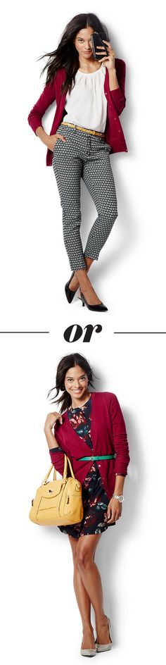 How to work the classic cardigan like a boss. This staple is office-style made easy, and it still lets fall trends—dark florals and and crisp patterns—win at work. Find more fall styling ideas at A Bullseye View: http://tgt.biz/1qY2ltF?utm_content=buffere19e3&utm_medium=social&utm_source=pinterest.com&utm_campaign=buffer…