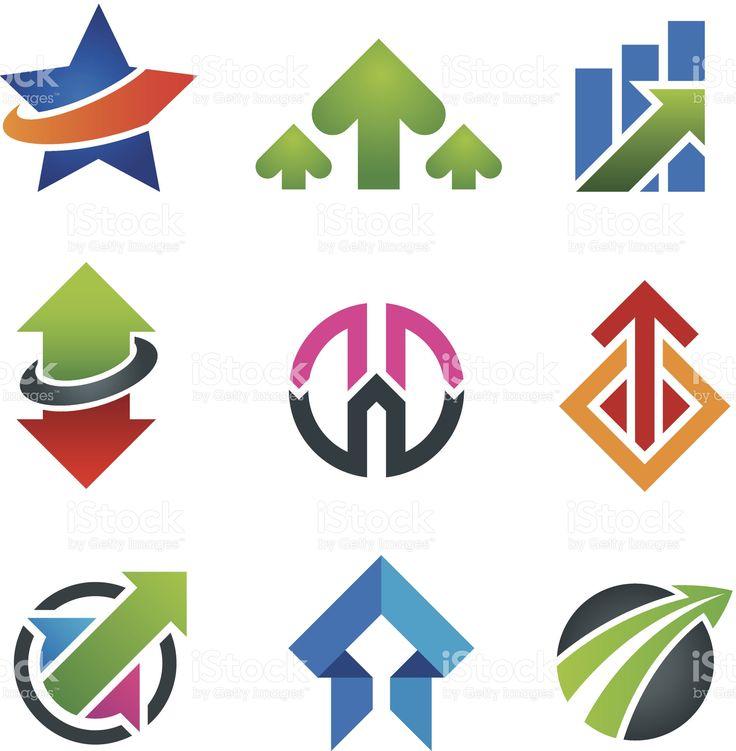 Up star стрелка бизнес маркетинг и финансы икона set экономики Сток Вектор Стоковая фотография