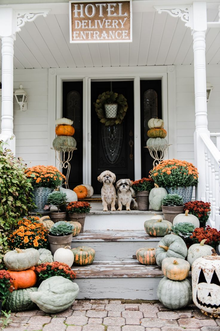Roof Design Ideas: Rustic Fall Farmhouse Porch = Pumpkins & Mums On Porch