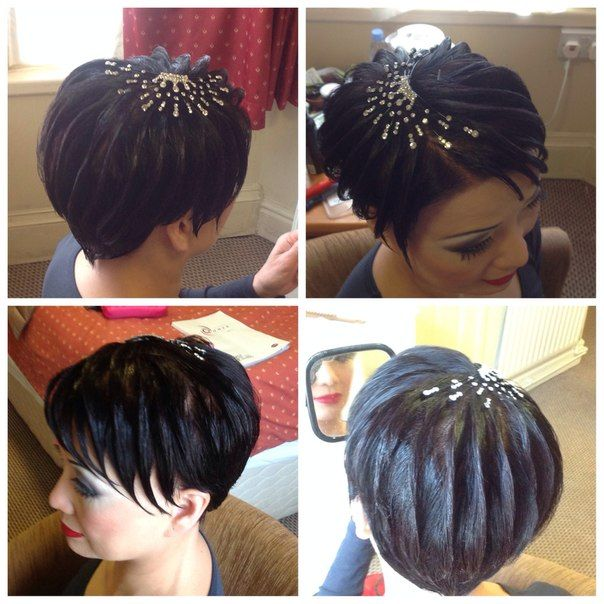 Starbust effect for short hair. Good for latin and standard ballroom. Visit http://ballroomguide.com/comp/hair_make_up.html for more hair and makeup info