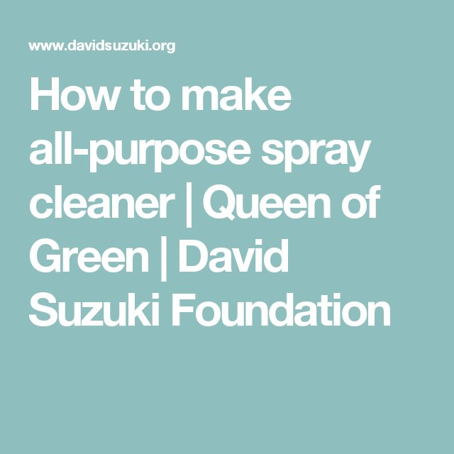 How to make all-purpose spray cleaner | Queen of Green | David Suzuki Foundation