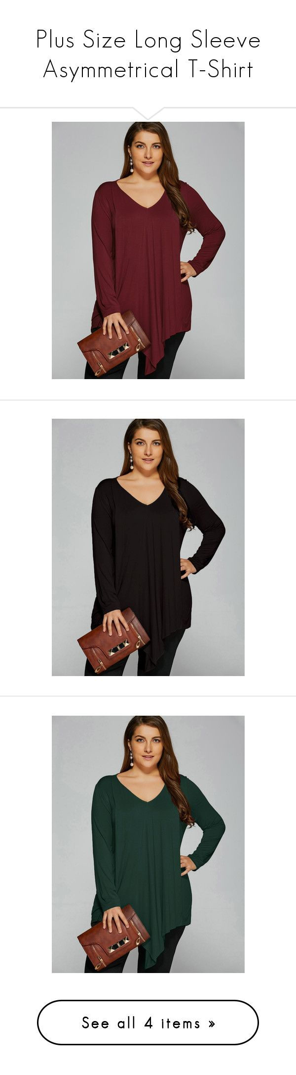 """Plus Size Long Sleeve Asymmetrical T-Shirt"" by rosegal-official ❤ liked on Polyvore featuring tops, t-shirts, plus size long sleeve tee, plus size women's t shirts, womens plus tops, women's plus size tops, red t shirt, women's plus size graphic tees, long sleeve t shirts and plus size tees"