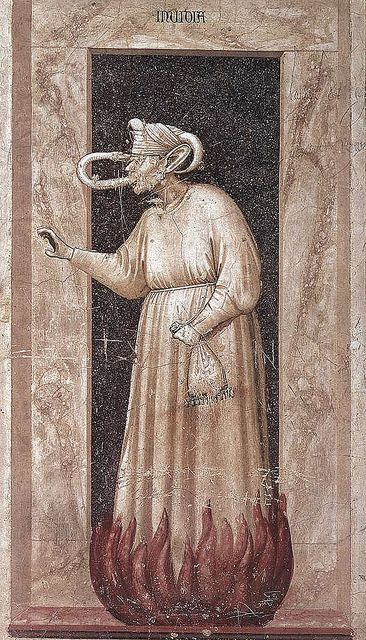 Giotto di Bondone, The Seven Vices: Envy. 1306.  Fresco, 120 x 55 cm. Capella Scrovegni (Arena Chapel).