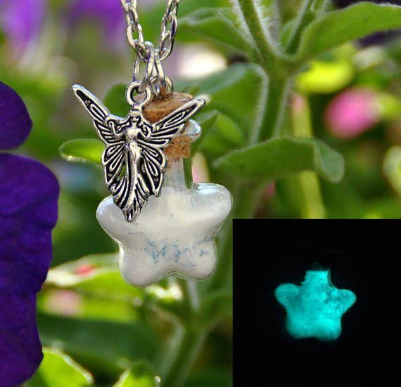 Collana Polvere di Fata,  fosforescente in bottiglia di vetro, stella, fata dei boschi, magico