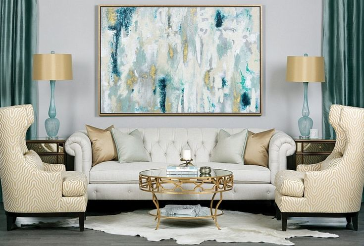 Interior: Luxurious Living Room Design With Fabulous Blend Of Teal And Gold Coupled With White Tufted Sofa And Cowhide Rug Also Small Round Coffee Table: Classic Color Of Yellow And Blue For Contemporary Interior Decor