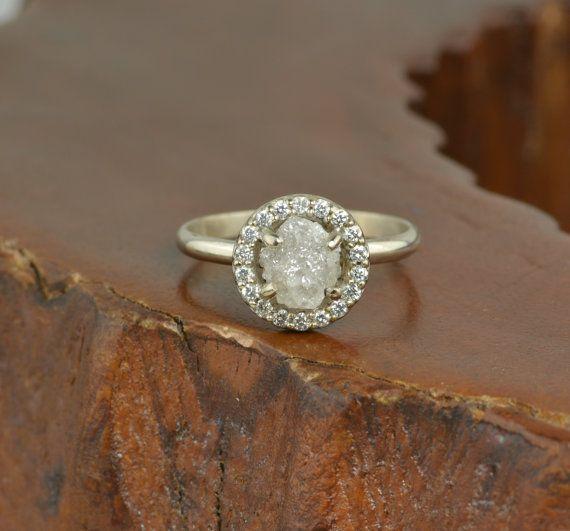 1.5 Carat Uncut Diamond Halo Engagement Ring by PointNoPointStudio